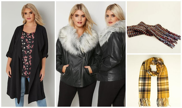 Autumn clothes, Yours Clothing jackets, New Look scarves