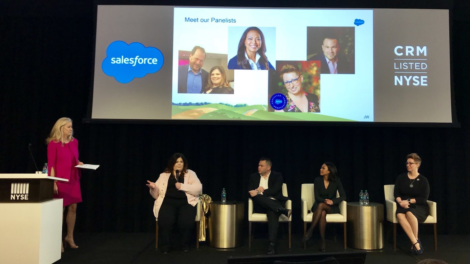 Tigh Loughhead on the Salesforce FinServ Trailblazer Panel at the NYSE with Alison Graham, Cheryl Feldman, Carrie Mantione and Sandi Zellner