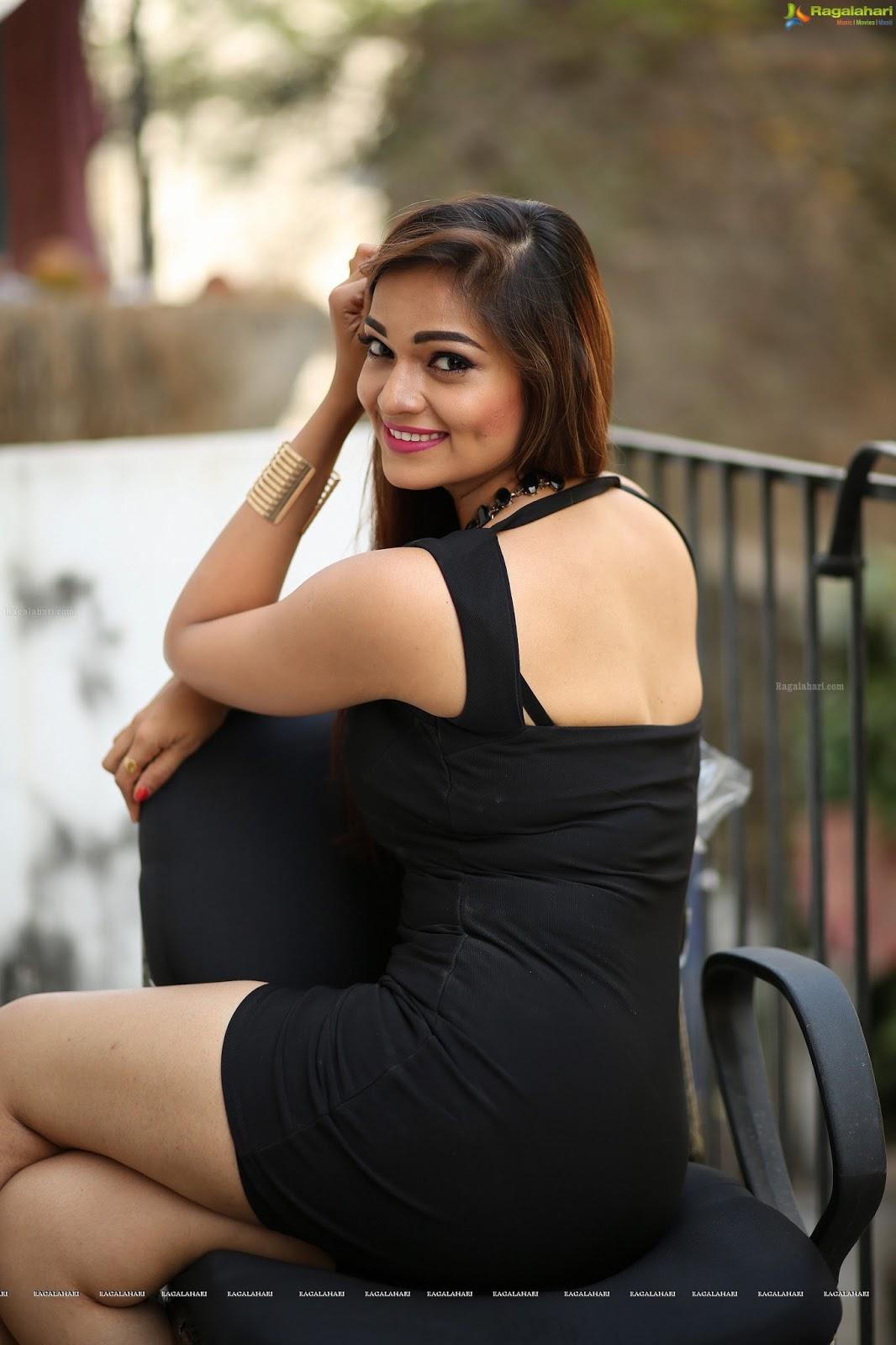 Telugu Actress Hot Photos Ashwini In Black Short Dress