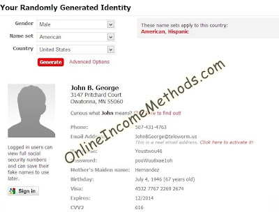 name generator and your real name must be used if you will not use your real name you will be unable to withdraw the money from paypal to payoneer via