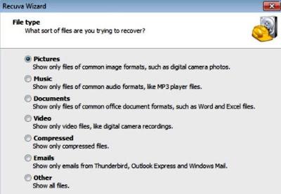 Mencari jenis file tertentu yang telah dihapus.