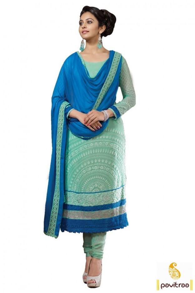 Rakul Preet Singh In Blue Embroidery Salwar Suit