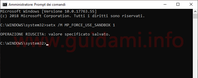 Finestra del Prompt dei comandi come amministratore in Windows 10