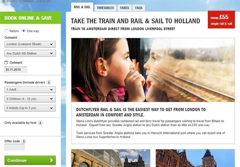 Como comprar os bilhetes Rail&Sail da Stena Line - De Londres a Amsterdam: como fazer o trajeto de navio