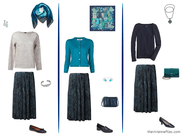 three ways to wear a navy patterned skirt