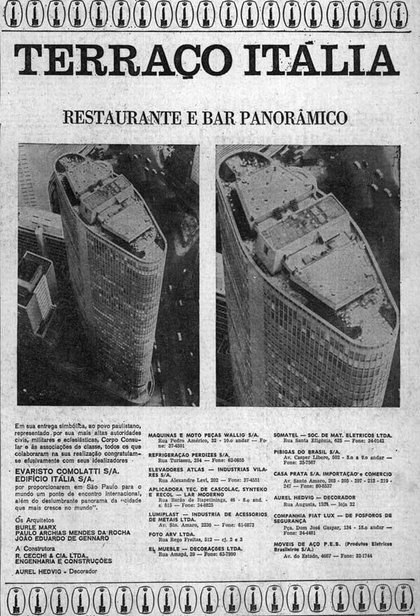 Propaganda do lançamento do Terraço Itália com Restaurante e Bar Panorâmico