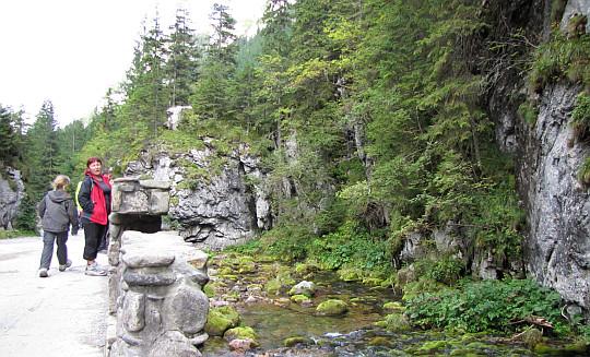 Dolina Kościeliska. Mostek przy wywierzysku pod Skałą Pisaną.