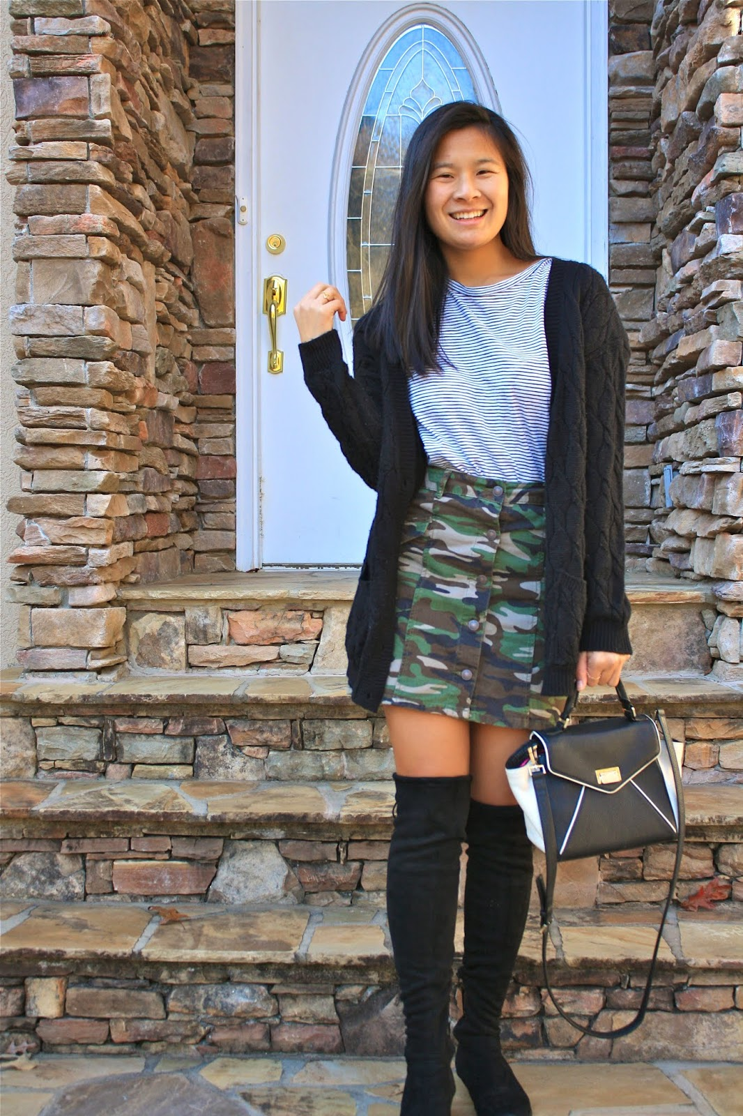Mixing prints - stripes and camo