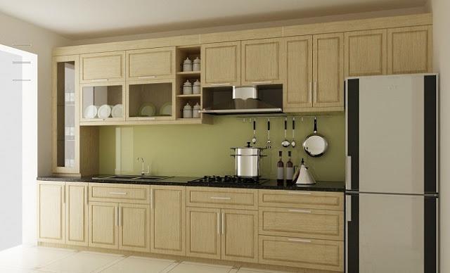Tủ bếp sồi Nga chữ I đơn giản