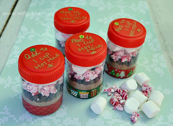 Adorable Single Serve containers with everything you need for a quick drink [just add to hot milk!] Great as gifts for school friends, colleagues or to pop into your handbag #Christmas #EdibleGifts #PartyFavors www.withablast.net