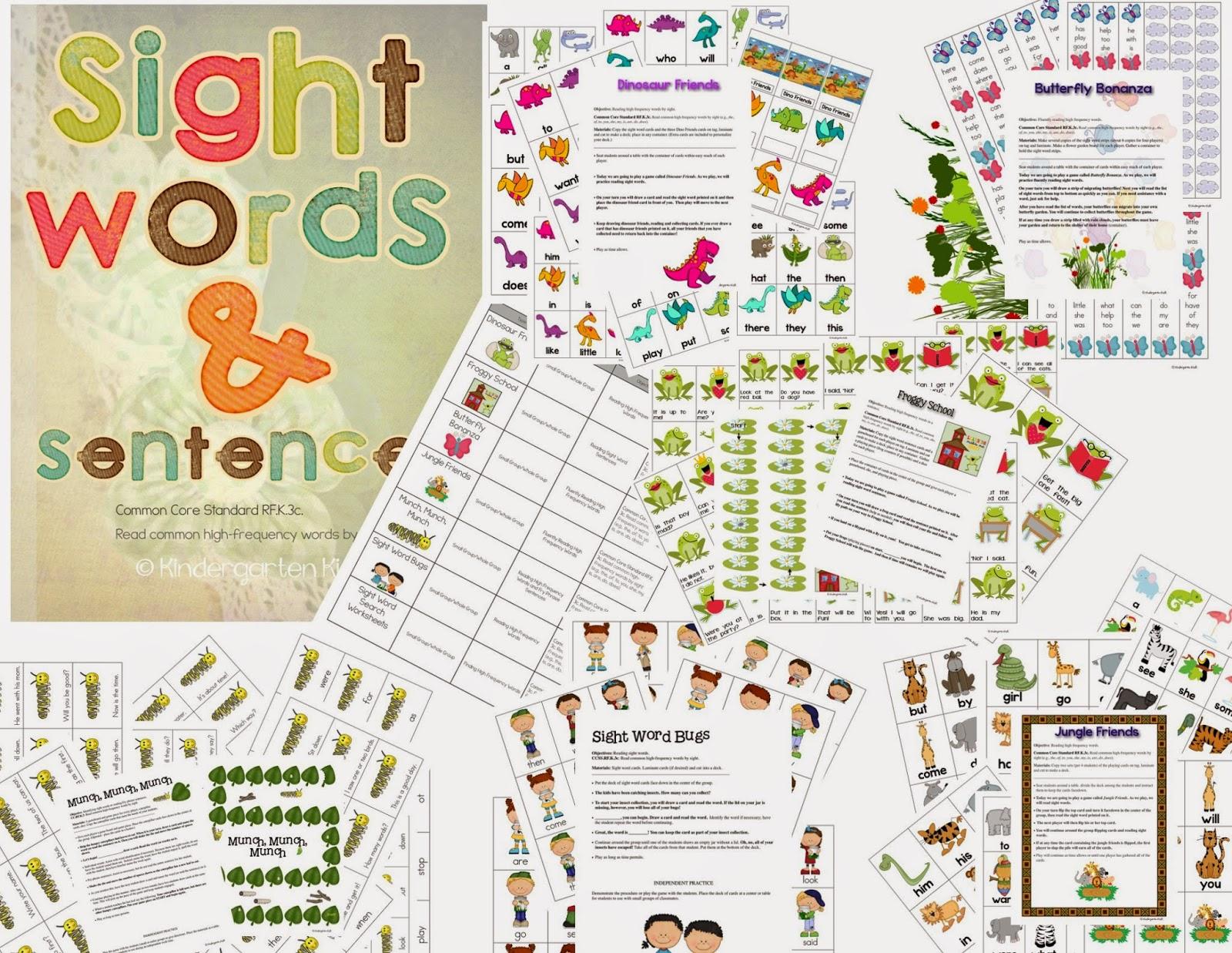 Kindergarten Kiosk Sight Words And Sight Word Sentences