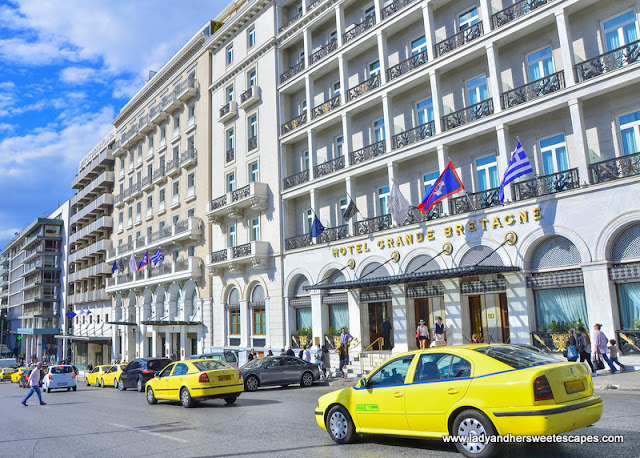 the prominent Hotel Grande Bretagne beside Syntagma Square