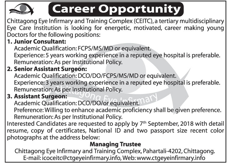Chittagong Eye Infirmary Job Circular 2018