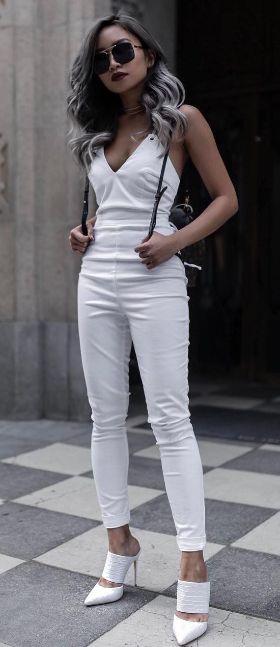 beautiful white outfit: palysuit + heels