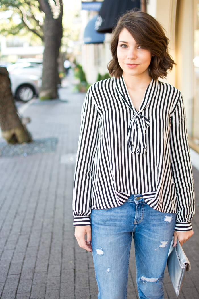 stripe blouse, outfit of the day, fashion blogger