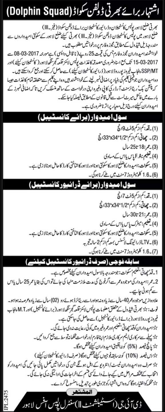 Dolphin Squad Phase III Lahore Punjab Police Jobs 2017