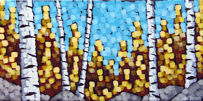 shimmering sparkles acrylic painting by duluth artist aaron kloss, painting of fall birches, pointillism, square painting, square brushstrokes, Siiviis Galllery, duluth painter, duluth art
