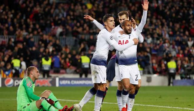 Dramatis, Tahan Imbang Barca 1-1 Tottenham Hotspur Lolos