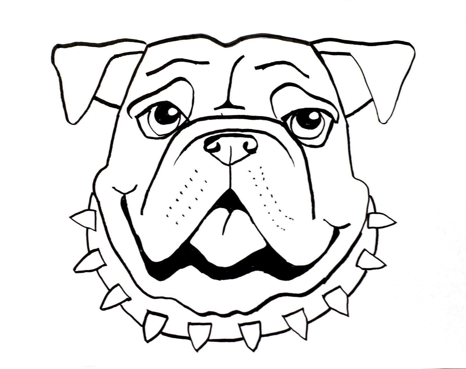 Bulldog Face Sketch Templates