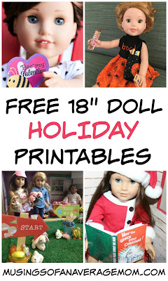 "Free 18"" Doll Holiday Printables"