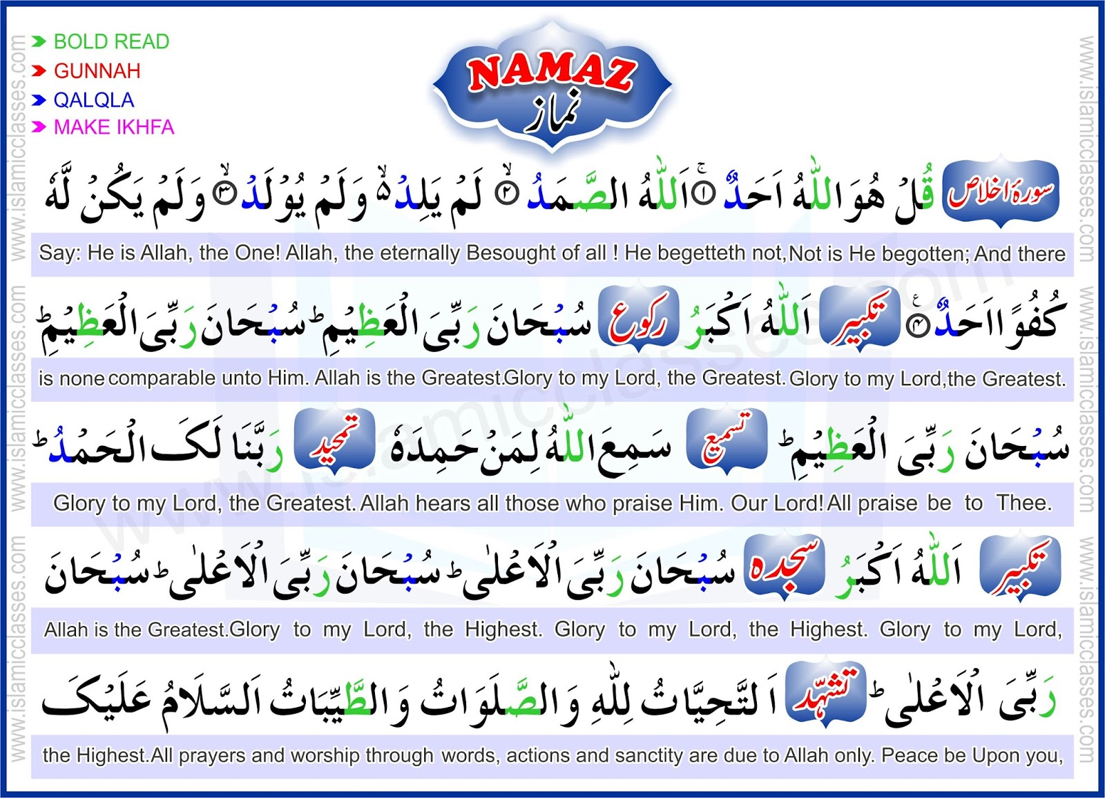 Learn namaz with translation