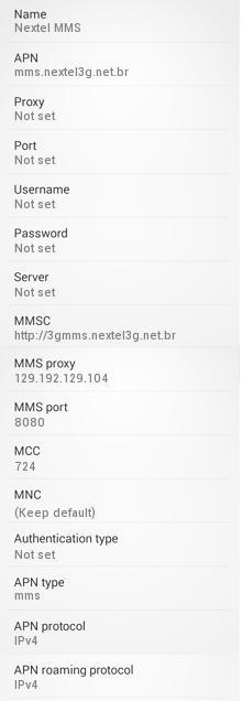 Configuração de mms Nextel para android