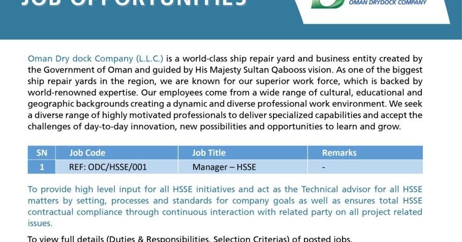 Vacancy at Oman Drydock Company - Duqm 1