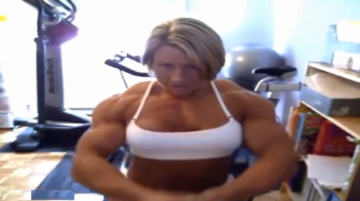 Video Female bodybuilding Muscles prominent and powerful and steel