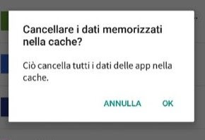 Cancellare cache
