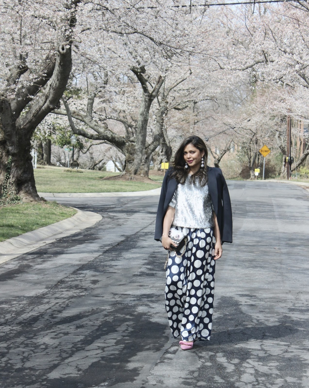 how to wear daytime sequin, cherry blossom, polka dot wide leg pants, daytime chic, outfit of the day, ootd, street style, chic, fashion, fashion blogger, white and blue , pink lipstick, j crew sequin blouse, spring outfit