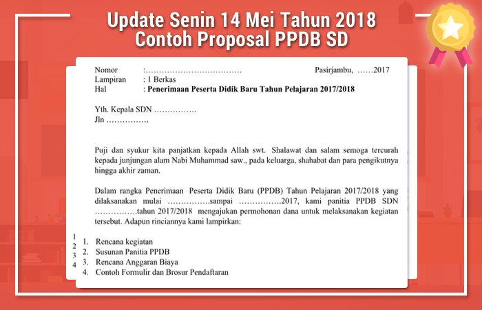 Update Senin 14 Mei Tahun 2018 Contoh Proposal PPDB SD