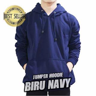 hoodie jumper polos biru navy