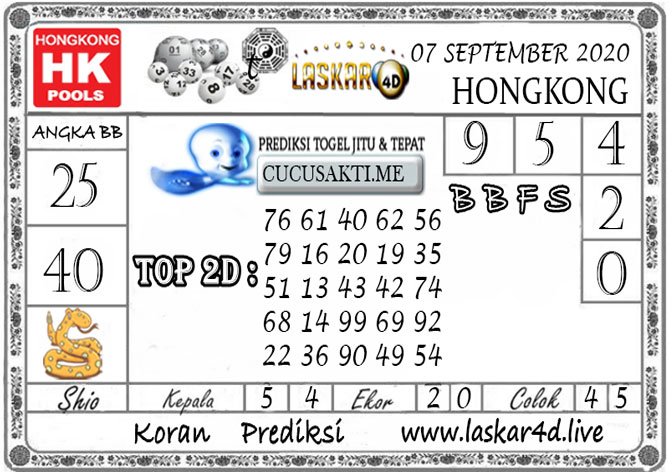 Prediksi Togel HONGKONG LASKAR4D 07 SEPTEMBER 2020