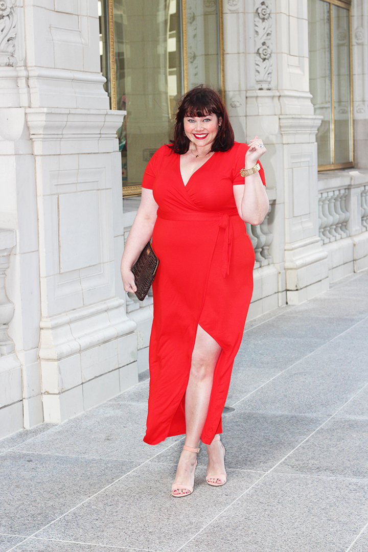 Plus Size Blogger Amber from Style Plus Curves in a Red Wrap Dress from Forever 21 Plus
