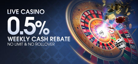 M88 Live Casino 0.5% Weekly Cash Rebate No Limit & No Rollover