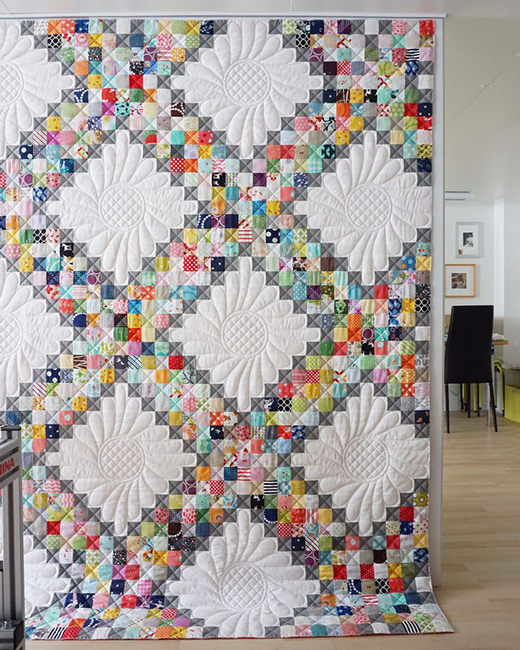 Scrappy Irish Chain Quilt made by Iva Steiner of Schnig Schnag Quilts and More, The Pattern by Jessie Fincham