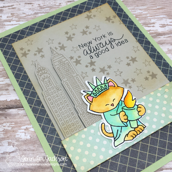 New York Card by Jennifer Jackson | Newton Dreams of New York Stamp set by Newton's Nook Designs #newtonsnook