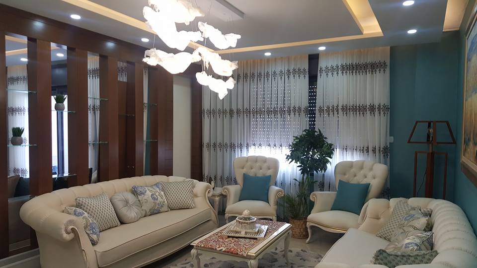 Charming interior blue accent apartment with compact layouts desymbol