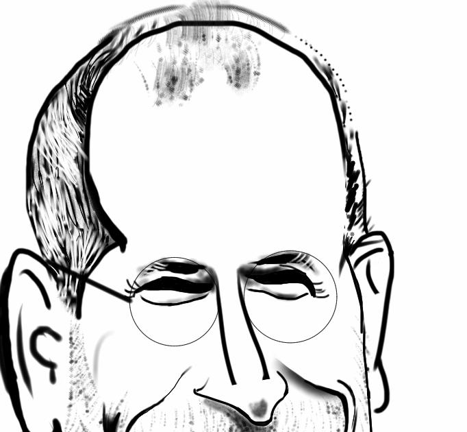 Steve Jobs Caricature B W