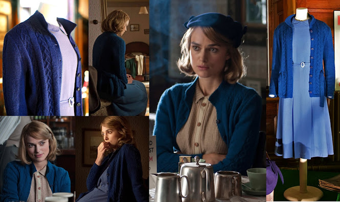 Keira Knightly Joan Clarke Blue Cable Cardigan