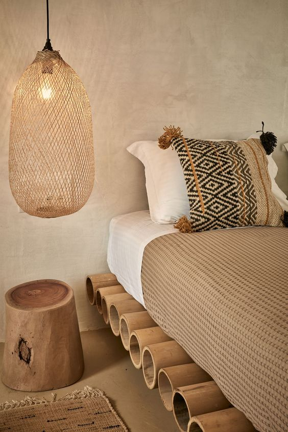 Luminárias pendentes em rattan