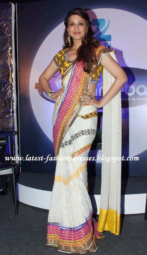 Bollywood white colour saree and yellow border