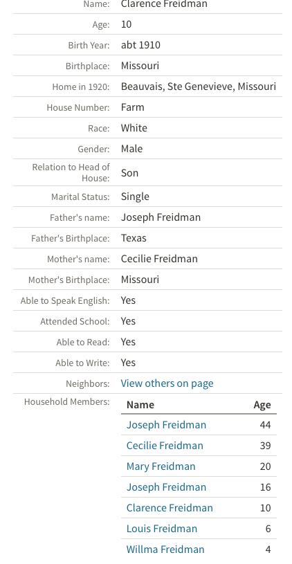 joseph friedman cecilia friedman ste genevieve mo 1920 census