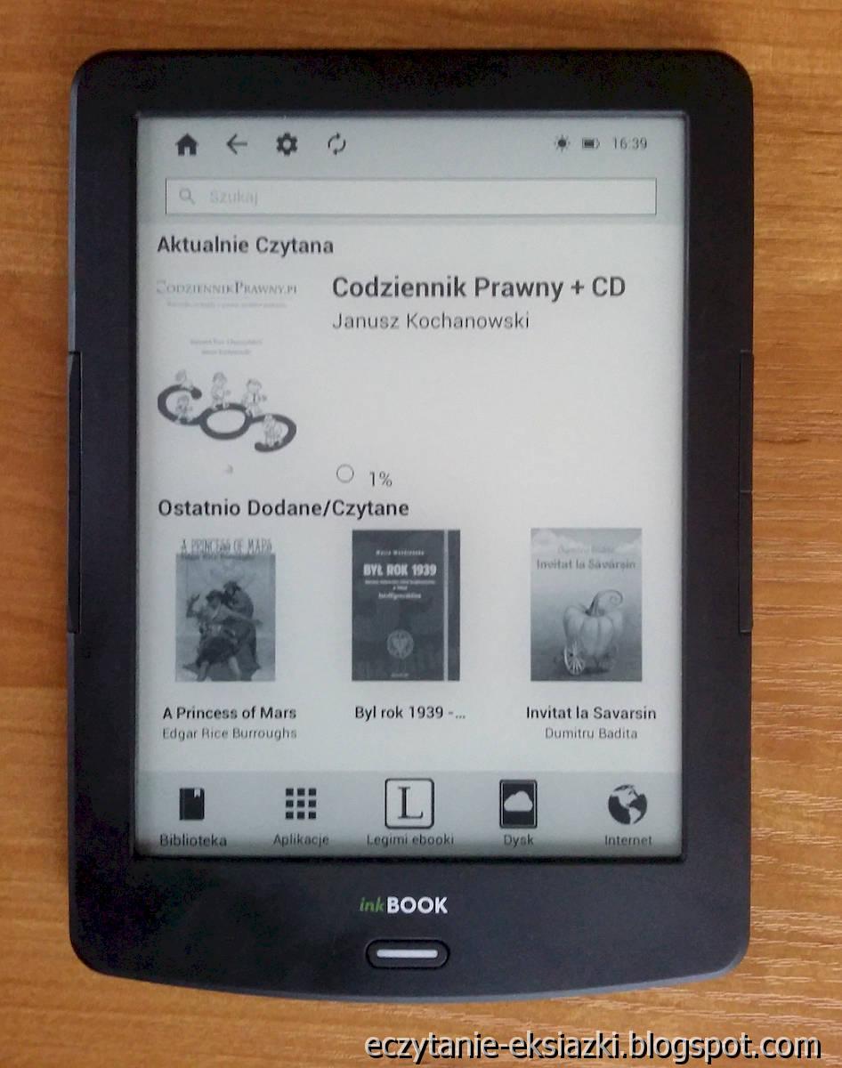 InKBOOK LUMOS - ekran startowy przed aktualizacją oprogramowania