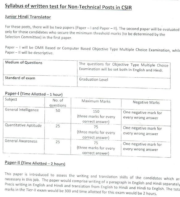 CSIR Chennai Recruitment 2019 for Junior Hindi Translator posts