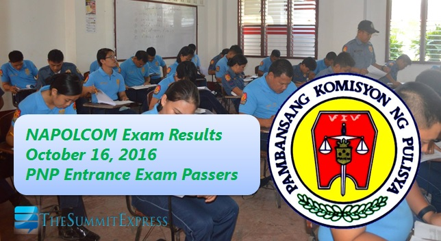PNP Entrance List of Passers: October 2016 NAPOLCOM exam results