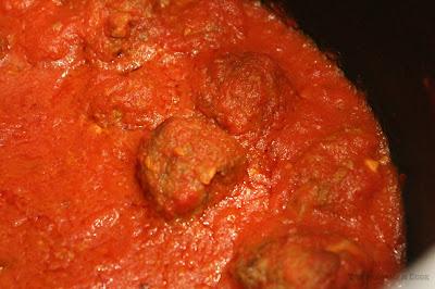 meatballs, simmering