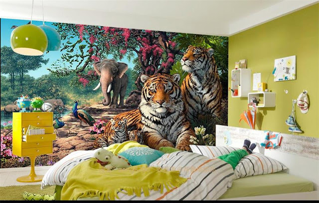 Jungle Wall Mural Kids Room Animals Tigers Nature