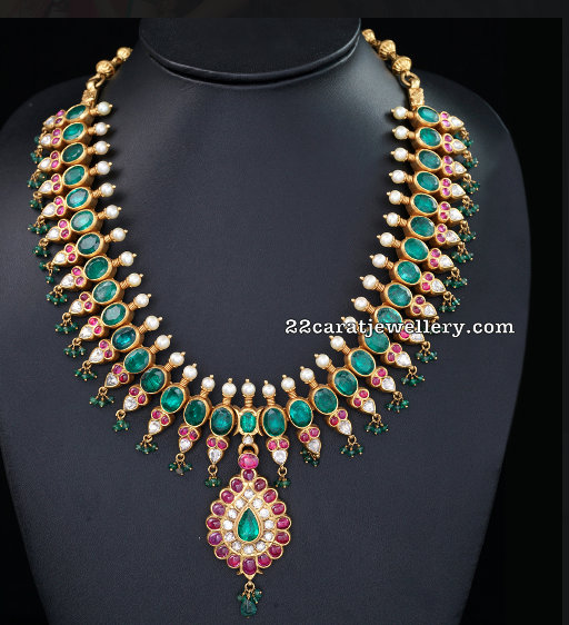 Emerald Choker with Semi Precious Beads