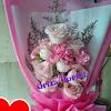 Buket Mawar Peach + Carnation Pink